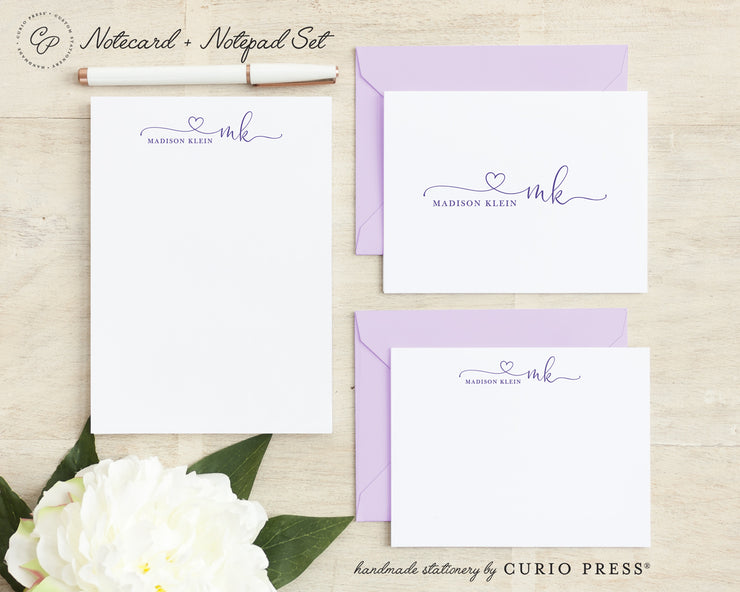 Precious Monogram: Folded + Flat + Notepad Set