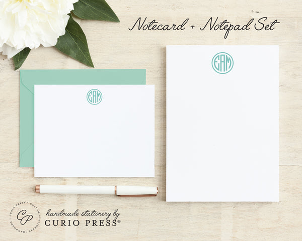 Preppy Monogram: Flat Card + Notepad Set