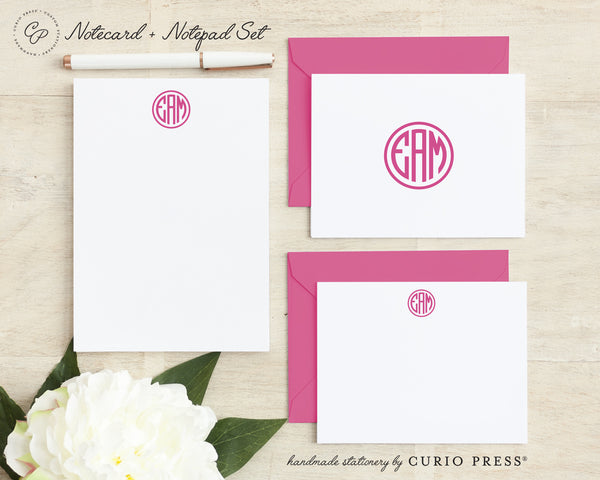 Preppy Monogram: Folded + Flat + Notepad Set