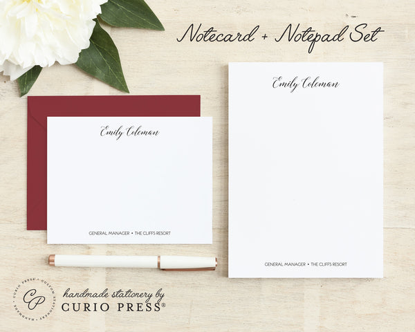 Professional Elegance: Flat Card + Notepad Set