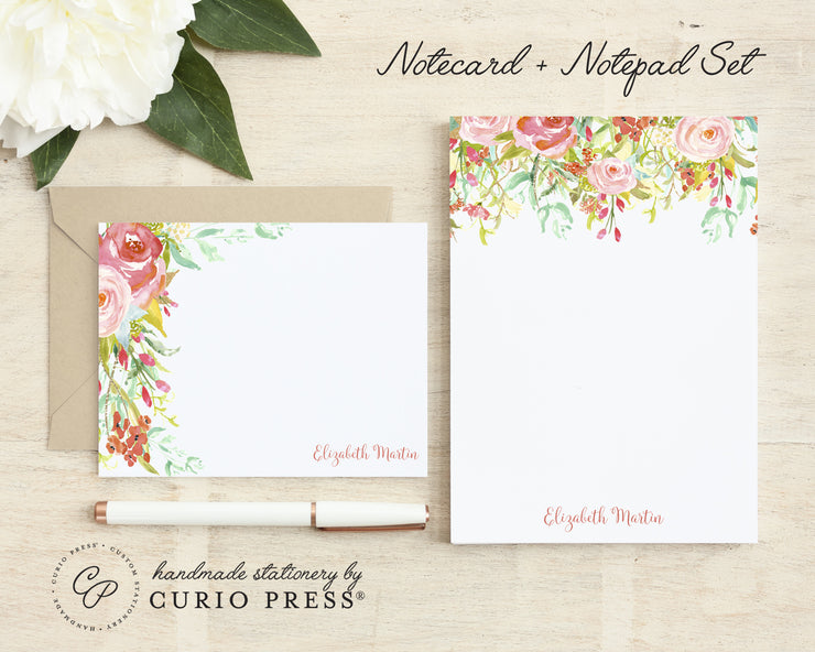 Rosecliff Florals: Flat Card + Notepad Set