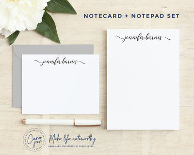 Rosie Script 2-Piece Set: Flat Card + Notepad Set