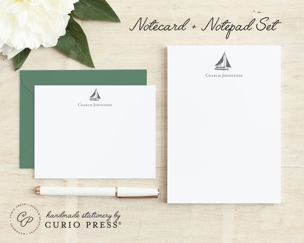 Sailboat: Flat Card + Notepad Set