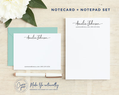 Sophisticated 2-Piece Set: Flat Card + Notepad Set