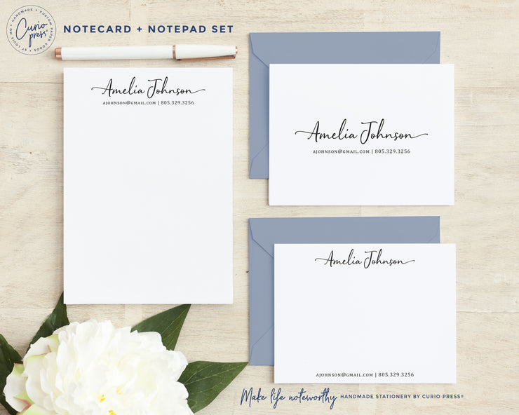 Sophisticated 3-Piece Set: Folded + Flat + Notepad Set