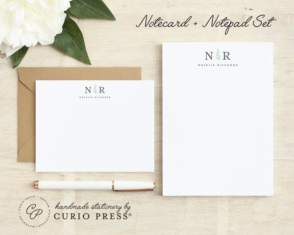 Sprig Monogram: Flat Card + Notepad Set