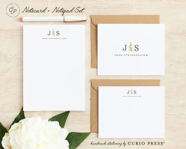 Sprig Monogram: Folded + Flat + Notepad Set
