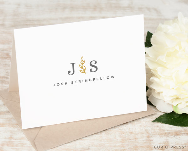 Sprig Monogram: Folded Card Set