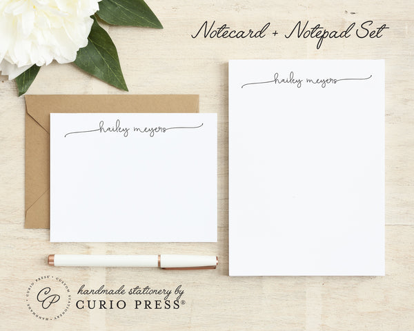 Swash Script: Flat Card + Notepad Set