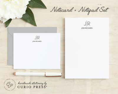 Thin Line Monogram: Flat Card + Notepad Set