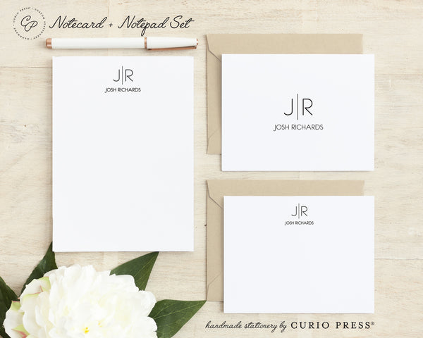 Thin Line Monogram: Folded + Flat + Notepad Set