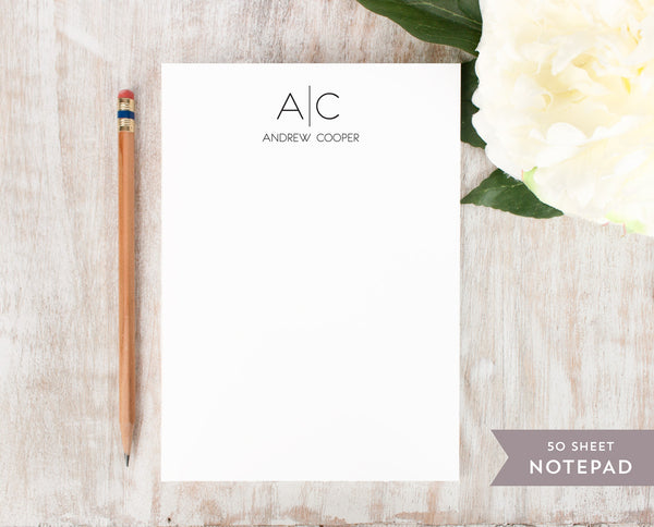 Thin Line Monogram: Notepad
