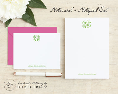 Vine Monogram: Flat Card + Notepad Set