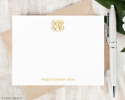 Flat Monogram Cards and Envelopes