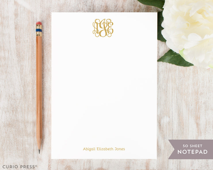 Vine Monogram: Notepad
