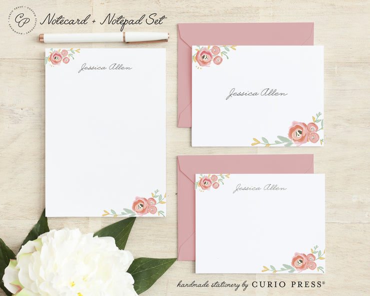 Watercolor Florals: Folded + Flat + Notepad Set