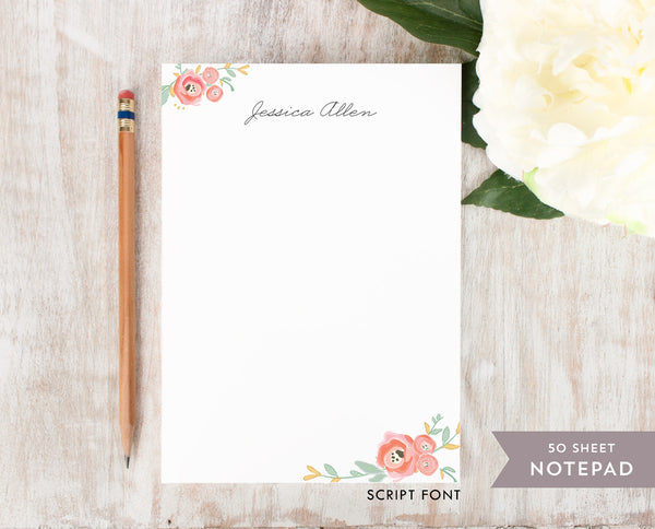 Watercolor Florals: Notepad