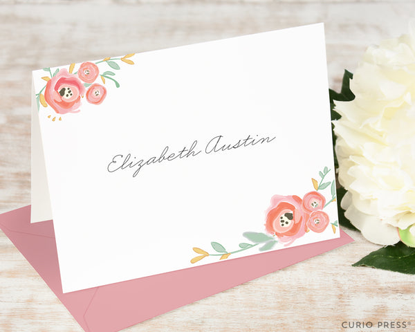 Watercolor Florals: Folded Card Set