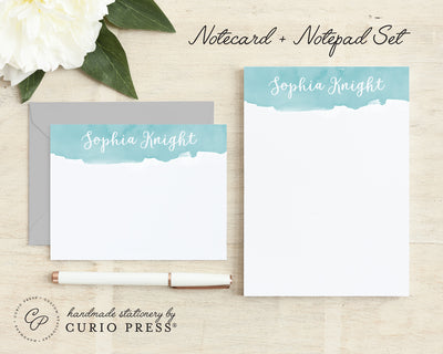 Watercolor Script 2-Piece Set: Flat Card + Notepad Set