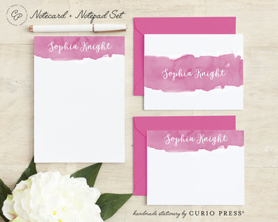 Watercolor Script 3-Piece Set: Folded + Flat + Notepad Set