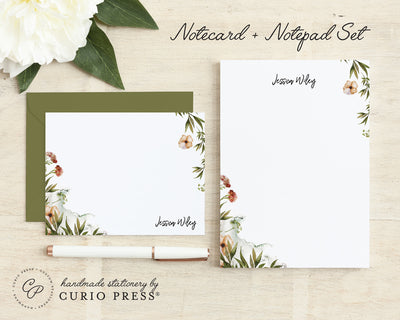 Personalized Flat Cards and Notepad Set