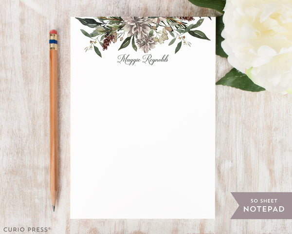 Winter Floral: Notepad