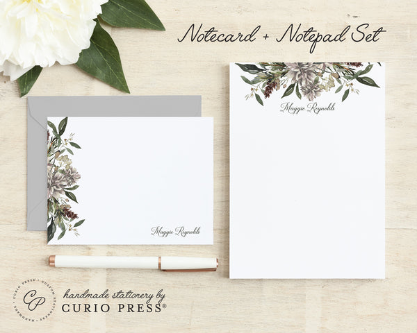 Winter Floral: Flat Card + Notepad Set
