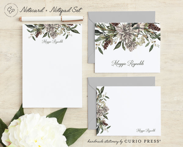 Winter Floral: Folded + Flat + Notepad Set