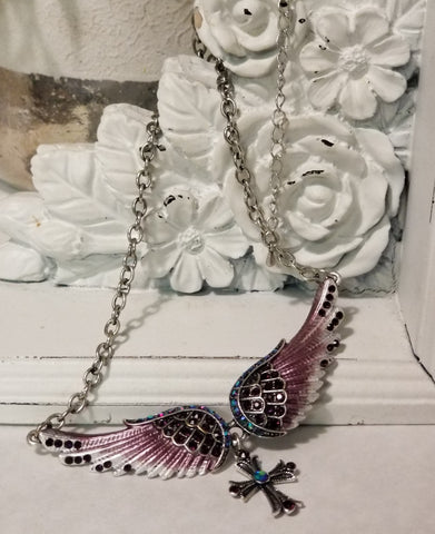 "Necklace: ""Wing and a Prayer"" Angel Wings & Cross"