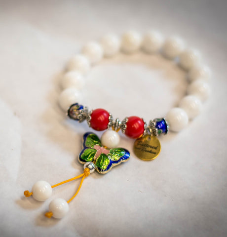 Saving Grace Collection: Natural White Beaded Meditation Butterfly Bracelet