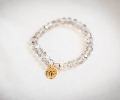 Saving Grace Collection: Bracelet- Crystal Glass Beaded w/ Cross Charm