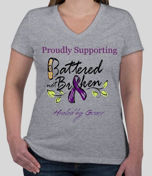 Battered Not Broken Domestic Violence Awareness (Supporter) T-Shirt  Ladies Fit V-Neck