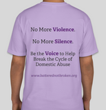 Battered Not Broken Domestic Violence Awareness (Supporter) T-Shirt Unisex (Grey & Purple)