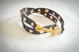 Saving Grace Collection: Wrap Faux Leather Bracelet w/ Micro Pave CZ Disco Cross Charm (Various Colors)