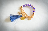 Saving Grace Collection: Bracelet-  Beaded Stretch Chain w/ Tassel  and Charms (Various Colors)