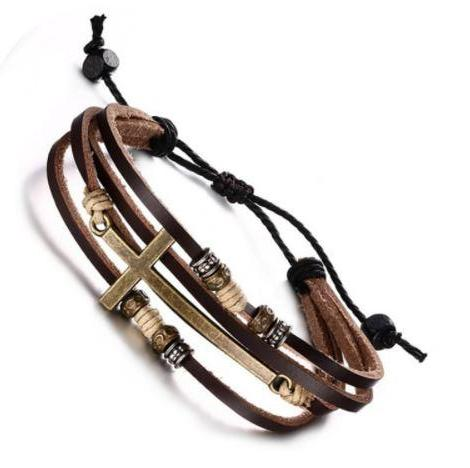 Saving Grace Collection: Bracelet- Vintage Adjustable Multi-layer Genuine Leather Cross - Unisex