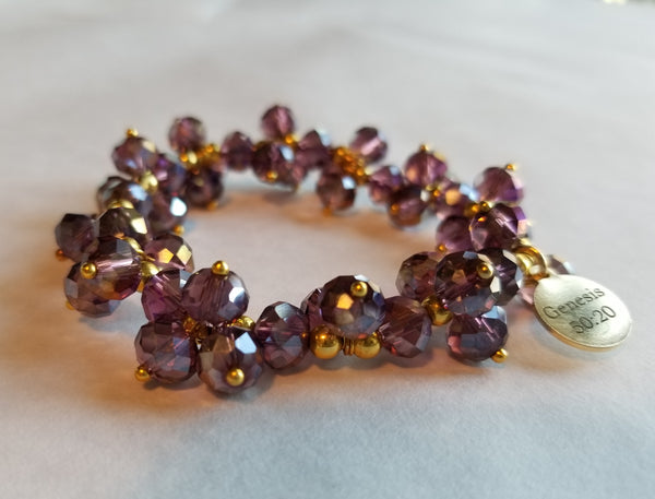 "Saving Grace Collection: Crystal Glass w/ Faceted Beads Bracelet w/Bangle  stretch 7""  (Purple)"