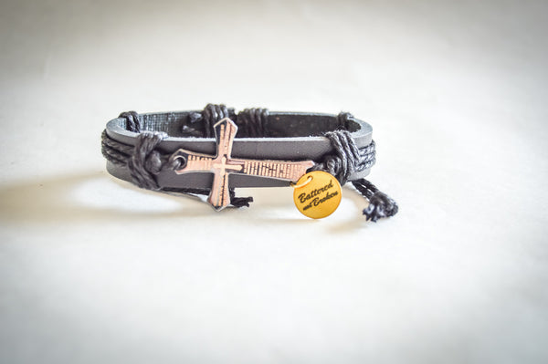 Saving Grace Collection: The Lords Prayer Vintage Handmade Braided  Genuine Leather Cross Bracelets - Unisex  (Black or Brown)