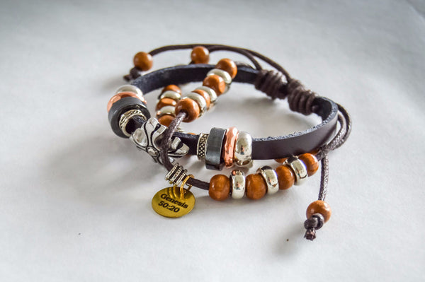 Saving Grace Collection: Bracelet- Bohemia Style Leather Unisex Cross & Beads