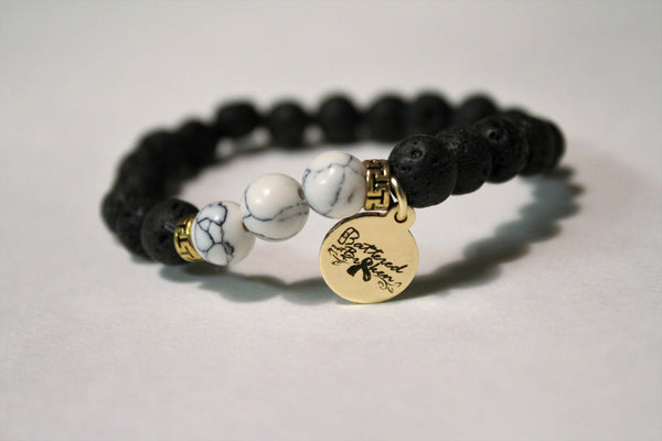 Saving Grace Collection:  Bracelet- Natural Lava Stone & Mala Meditation Beads