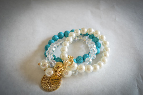 Saving Grace Collection: Bracelet- Bohemia Style Imitation Pearls Beaded w/ Bangles  (Various Colors)
