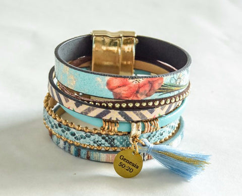 Saving Grace Collection: Bracelet- Boho Chic Leather w/ Magnet Buckle (Various Styles & Colors)