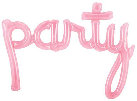 'party' Clear Pink Script Shape