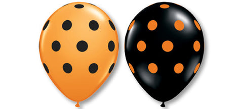 11 Inch Black & Orange Big Dots Latex Balloons