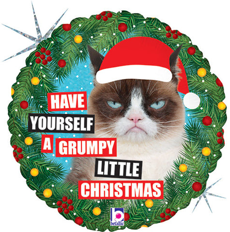 Christmas Grumpy Cat Holographic Balloon