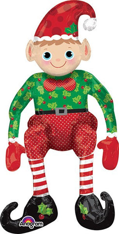 Christmas Sitting Elf Air-Inflate Balloon
