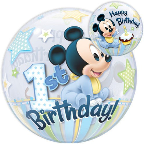 1st Birthday Mickey Mouse Bubble Balloon