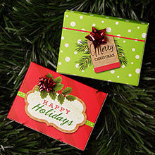 HOLIDAY MERRY FLIP TOP GIFT CARD PRESENTATION BOXES