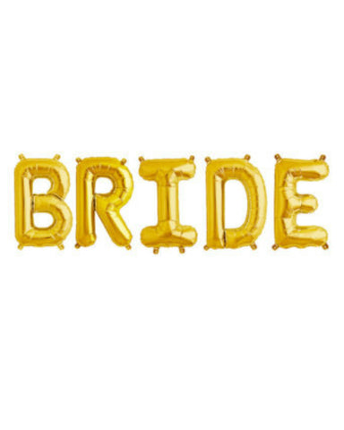 BRIDE 16 inch Gold Letter Balloon Kit