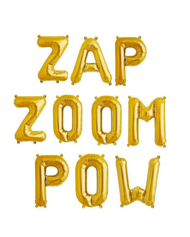 ZAP ZOOM POW 16 inch Gold Letter Balloon Kit